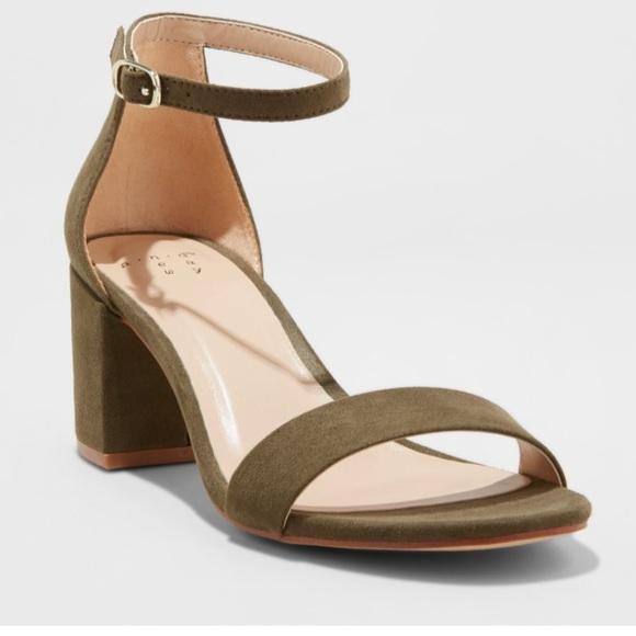 fa8a8232778 Brand New Olive Green Block Heels